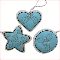 Christmas Decorations in Blue and Cream